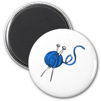 Blue Ball of Yarn 2 Inch Round Magnet