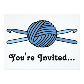 Blue Ball of Yarn & Crochet Hooks Card