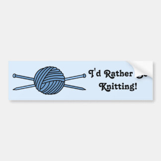Blue Ball of Yarn & Knitting Needles Bumper Sticker