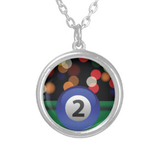 blue ball silver plated necklace