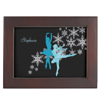 Blue Ballerina Snowflake Keepsake Box
