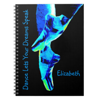 Blue Ballet Pointe Slippers Personalized Notebook