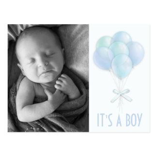 Blue Balloon Baby Boy Photo Birth Announcement Postcard