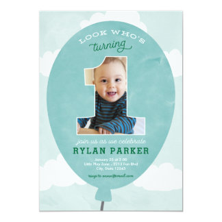 Blue Balloon First Birthday Photo Invitation