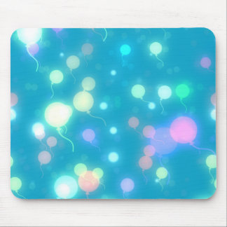 Blue Balloon Galaxy Print - Neon Colors Mouse Pad