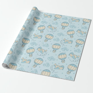 Blue Balloons Airplanes Baby Boy Wrapping Paper 1