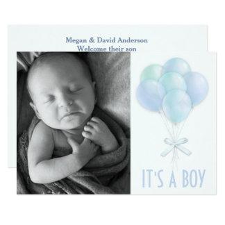 Blue Balloons Baby Boy Photo Birth Announcement