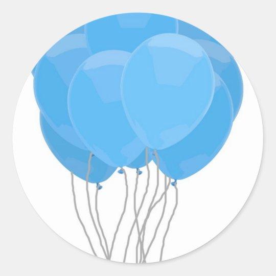 Blue Balloons Classic Round Sticker