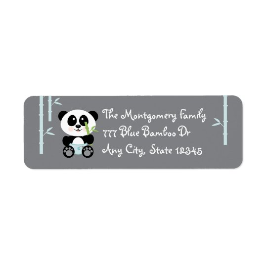 Blue Bamboo Baby Panda in Diapers Address Stickers
