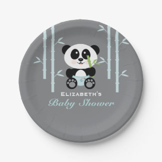 Blue Bamboo Panda Baby Shower 7 Inch Paper Plate