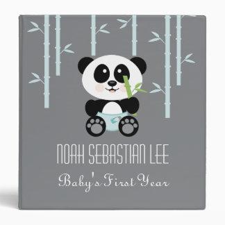 Blue Bamboo Panda in Diapers Baby Photo Album 3 Ring Binders