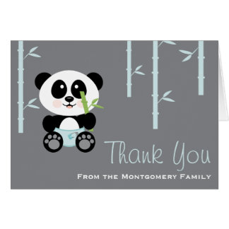 Blue Bamboo Panda in Diapers Baby Shower Thank You Card
