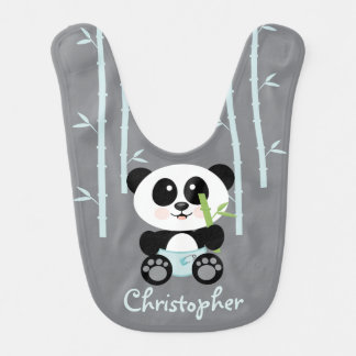 BLUE BAMBOO PANDA IN DIAPERS BIB