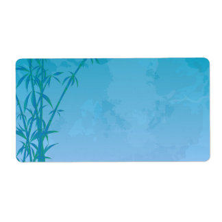 Blue bamboo shipping label