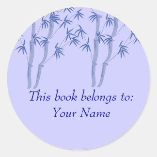 Blue bamboo, This book belongs... Round Sticker