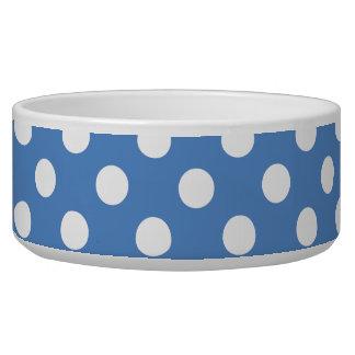 Blue Band White Polka Dots Pet Food Bowl