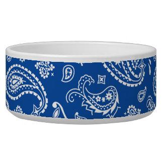 Blue Bandana Paisley Pet Food Bowl