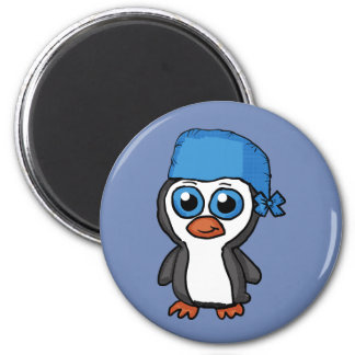 Blue Bandana Penguin Button Magnet