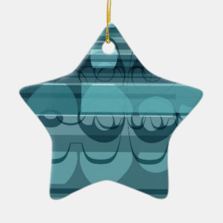 Blue banner ceramic star ornament