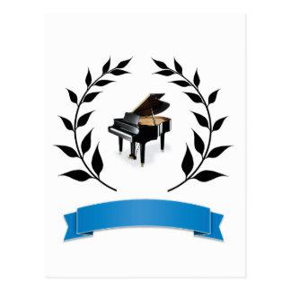 blue banner piano postcard