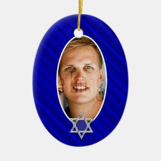 Blue bar mitzvah photo keepsake ceramic oval ornament
