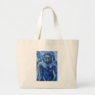 Blue Barbarous Woman(expressionism portrait) Large Tote Bag