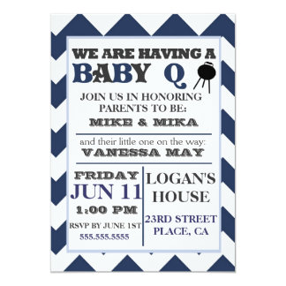 Blue Barbecue BabyQ Baby Shower Invitation