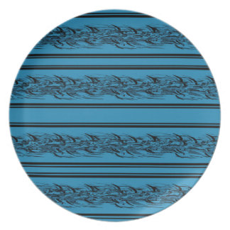 Blue barbwire party plates