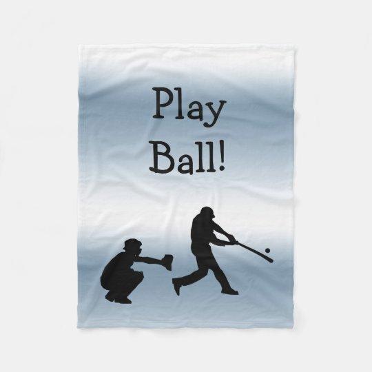Blue Baseball Play Ball Sports Fleece Blanket