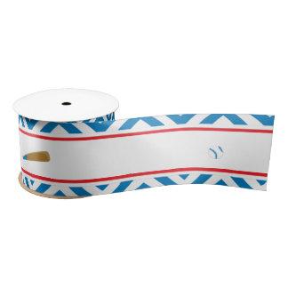 Blue Baseball Satin Ribbon