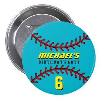 Blue Baseball Sports Birthday Party Button Pin