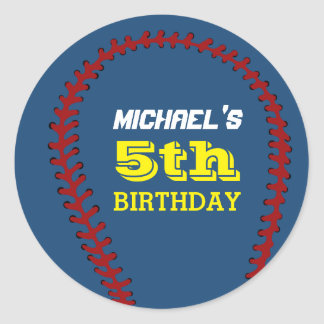 Blue Baseball Sticker for Kids Birthday Party
