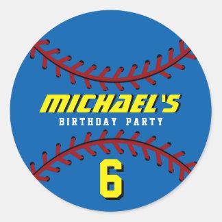 Blue Baseball Sticker Sports Kids Birthday Party