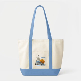 Blue Basketball Cheerleader Canvas Tote Bag