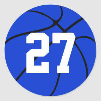 Blue Basketball Jersey Number Round Stickers