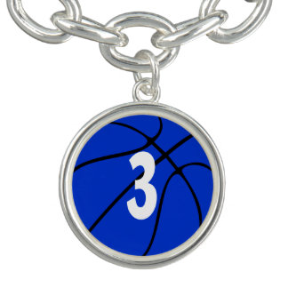 Blue Basketball Player Jersey Number or Initial Charm Bracelet