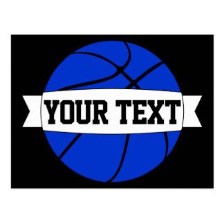 Blue Basketball Team Name or Custom Text Postcards