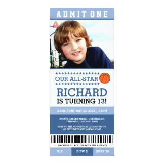Blue Basketball Ticket Birthday Invites