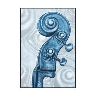 Blue Bass Scroll Canvas Print