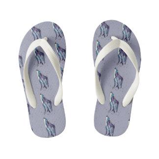 Blue bath slipper with handpainted wolves kid's flip flops