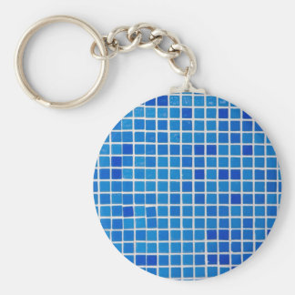 blue bathroom tile basic round button keychain