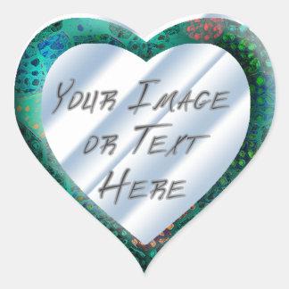 Blue Batik Heart Frame Stickers