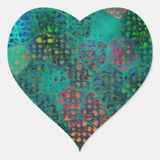 Blue Batik Heart Sticker