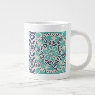 Blue Batik Tile I Large Coffee Mug