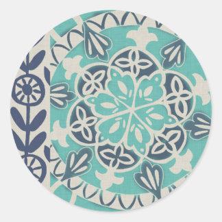 Blue Batik Tile I Round Sticker