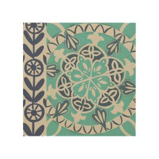 Blue Batik Tile I Wood Wall Art