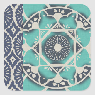Blue Batik Tile II Square Sticker