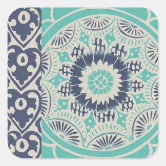 Blue Batik Tile III Square Sticker