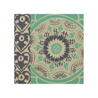 Blue Batik Tile III Wood Print
