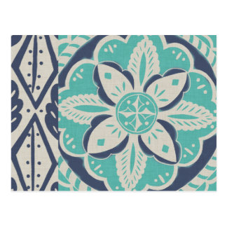 Blue Batik Tile IV Postcard